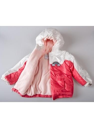 POKY Yeni Sezon Kız Bebek Çocuk 18-48 Ay Mikro Gökkuşaklı Mont Kırmızı-3415 Renkli